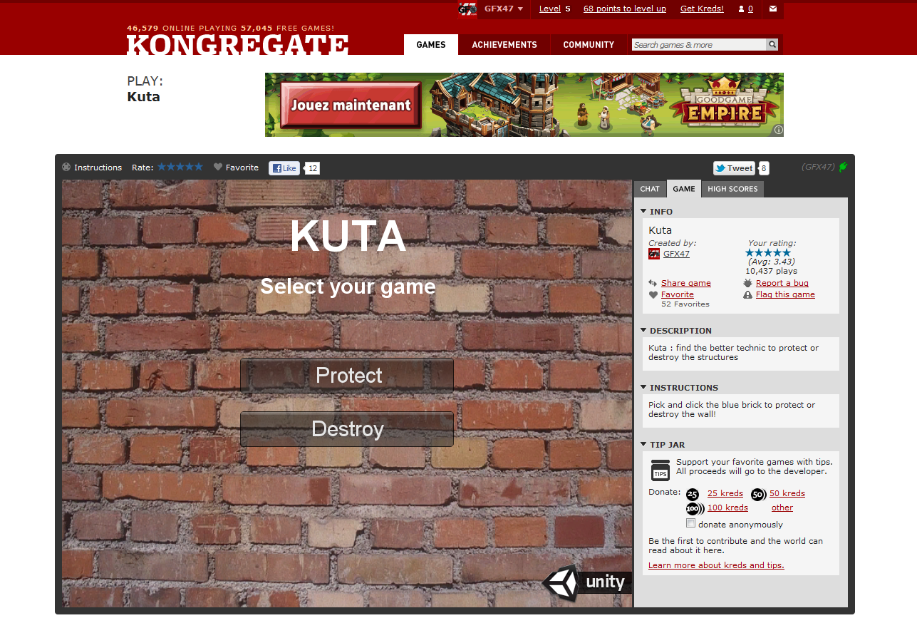 Kuta is on Kongregate.com!
